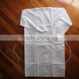 Disposable PP white isolation gown vistors' gown elastic wrist PE coated PP isolation gown