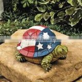 Turtle with USA American Flag Shell Patriotic Stars Stripes Lawn Outdoor Garden Decoration
