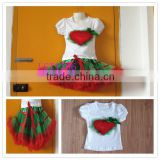 christmas heart kaiya pettiskirt set,casual kids summer clothing sets,fluffy tutu skirt set