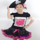 Skull black girl pettiskirt sets Pirate halloween toddle tutu sets floral party kids costume