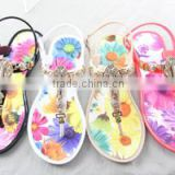 2016 latest summer sandals jelly crystal flip flops flowers with buckles pvc melissa slippers beautiful lady shoes