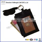 High Quality Custom Id Card Badge Holder Pouch Leather Neck Ring Wallet with Strap