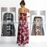 spaghetti strap floral two piece outfit maxi boho dress with button up