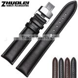 18|19|20|22mm high quality genuine cowhide black brown leather Watch strap with double click fashionable stainless steel buckle