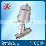 3/4'' stainless steel welding pneumatic angle seat valve