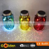 Festival Colorful Holiday Warm Light Glass Decoration Solar Mason Jar Led Light Lids