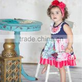 2016 latest baby girls giggle moon remake flower print summer bib ruffle dress sleeveless