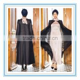 Fashion new style satin Long sleeve muslim evening dress 2015(MUSL-1003)