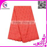 African cotton lace fabric high quality many colors available plain color cotton lace coral color