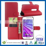 C&T Newest red cell phones accessories wallet leather case cover for motorola moto droid turbo 2