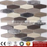 IMARK Brown Color Hexagon Glass Mosaic With Electroplated Glass Mosaic Tile Mix Misty Mosaic Tile Mix Marble Mosaic Tile