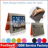 hot selling new design leather cover case with handle for ipad air/air 2 with Sleep/wake up function