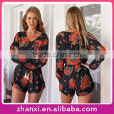 Wholesale girls floral print women bodysuit long sleeve rompers and jumpsuits 2016 onesie