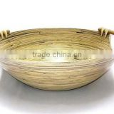 High quality best selling eco friendly spun bamboo fruit round large bowl with rattan handle