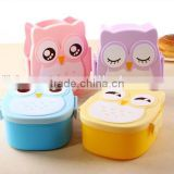 2017 wholesell Plastic Owl shape luch box for kids/Owl shape lunch box