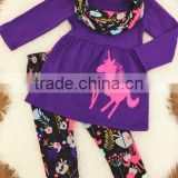 Girl Christmas ponies' applique purple cheap christmas clothing suit baby girl clothes