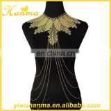 Wholesale elegant women body chain leaf design body jewelry making supplies