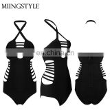 hot sale straps deep V front halter one piece swimwear lady sexy bandage bikini for women