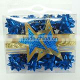 Holiday Decoration Mini Ribbon Bow SetS :Star RIBBON bows, egg ribbon,metallic fabric ribbon roll package