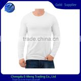 100% Cotton Soft Fabric Snow White Long Sleeve Tshirt for Men