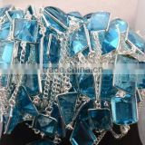 AAA Beautiful Natural Blue Topaz Fancy Shape Bezel Continuous Connector Chain 10-15mm In 925 Silver Plated Wire by foot