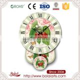 Fresh red cherry and small yellow butterfly canvas large decorative wall clock