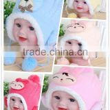 baby ear protection plush hats/cute animal shape baby plush hats/custom baby hat