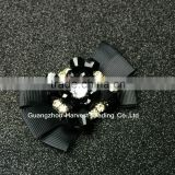 Black Crystal Beads Decorative Bow,Rhinestone Embellishment Grosgrain Ribbon Bow