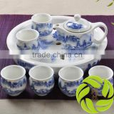 Hot selling porcelain teaset pottery teapot with gift package 350ml teapot and 6pcs 100ml teacup with ceramics tea tray