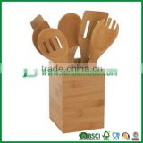 100% bamboo kitchen utensil with bamboo holder