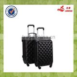 Spinner Four Wheels Black PC Suitcase Cheap Hard Shell PC Trolley Luggage