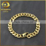 mens stainless steel PVD plating gold 18k gold miami cuban link bracelet
