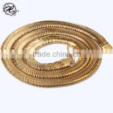 wholesale stainless steel 14k real gold plated flat snake chain