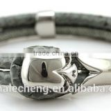 Genuine woven braided rope leather double wrapped stainless steel barrel screw clasp closure bracelet