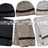 100% acrylic men stripe knitted Hats and Scarves