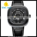 WJ-5531 special square dial design stylish clock waterproof genuine leather Megir watch for men