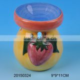 Decorative ceramic aroma oil burner with strawberry painting                                                                                                         Supplier's Choice