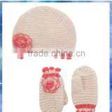 picot trim flower knit beanie hat and glove mitten set for baby