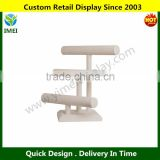 3 Tier T-Bar Necklace & Bracelet Jewelry Display Stand in Ecru Colored Faux Suede YM6-340