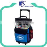 Extra large polyester insulated rolling trolley cooler bag on wheels