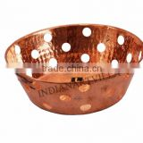 Pure Copper Round Basket - Serving Bread, Fruits - Home, Hotel, Restaurant, Tableware, Kitchen Dining