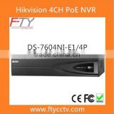 Surveillance Detection Equipment 4CH PoE 6MP Resolution DS-7604NI-E1/4P Linux NVR HIKVISION