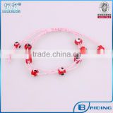Simple jewelry 8mm red evil eye bead pink string handmade bracelet as promotional jewelry