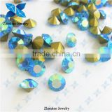Hot fix point Aquamarine AB rough gemstone price loose rhinestone for jewelry