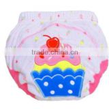3 layer baby cloth nappy, lovely cake baby diaper, reusable baby nappy, cartoon embroidered training baby cloth nappy,