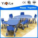 Cheap Commercial school moon-shape plastic table and chairs for kids