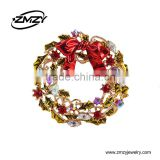 Christmas Gift Rhinestone Collar Brooches Pins With Beautiful Crystal Jewelry Gold Plating Charm Brooch for Women