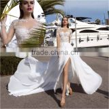 Vestidos De Noiva Sexy See Through Applique Chiffon Beach Wedding Dress With Long Sleeve Side Split Court Train ML231