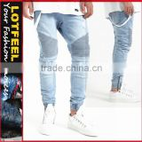 Destroyed biker denim jogger light blue wash jeans for men custom joggers jeans men(lotbike065)