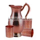 Handmade Water Jug and Mugs Set Made of Copper